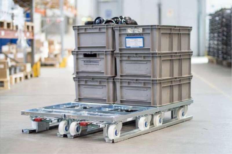 přepravní vozíky dolly a paletový adaptér pro manipulaci a skladování klt přepravek ve skladu