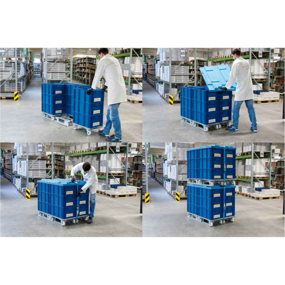 jak zajistit přepravní vozíky dolly s klt boxy do paletového adaptéru od k.hartwall