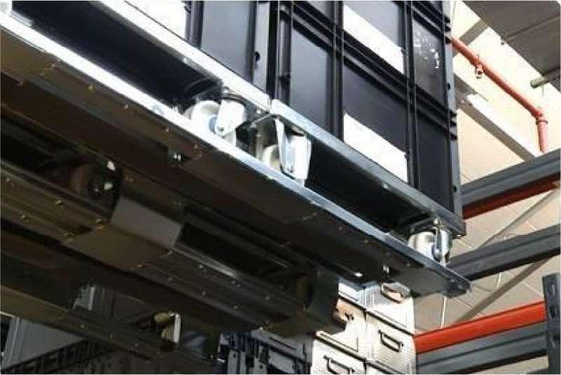 klt přepravky na paletovém adaptéru od k.hartwall, snadné skladování v regálech