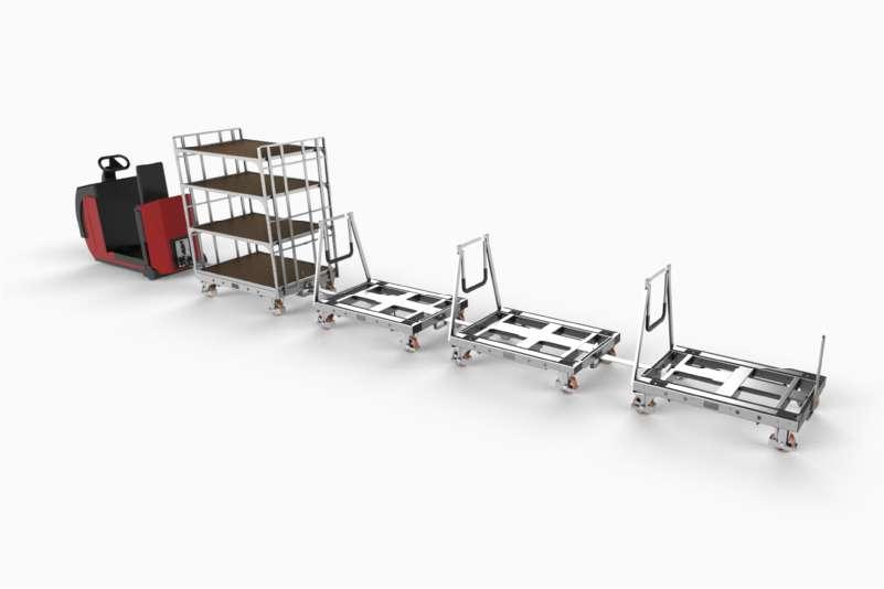 kombinovaná milkrun tažná souprava, kombinace přepravních vozíků k.hartwall, pallet size dolly a shelf wagon