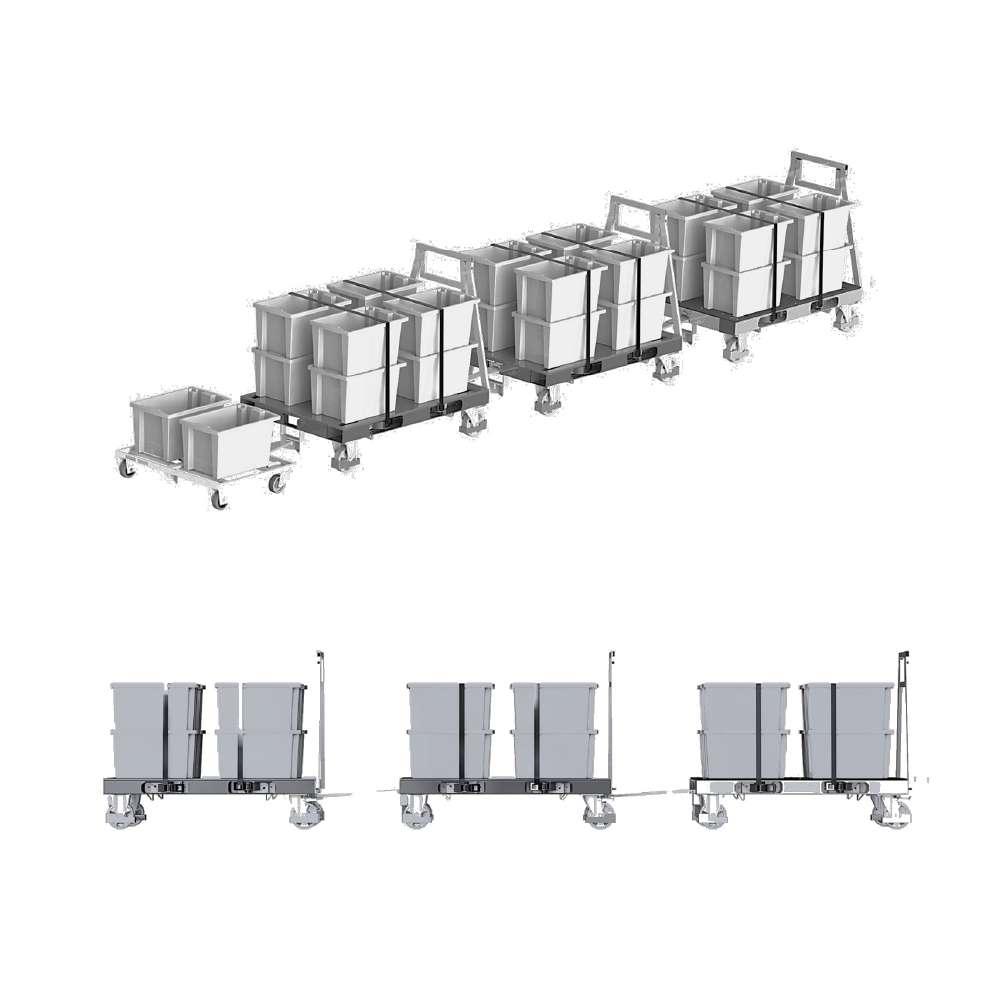 milkrun tažná souprava, plošinový přepravní vozík na palety pallet size dolly od k.hartwall