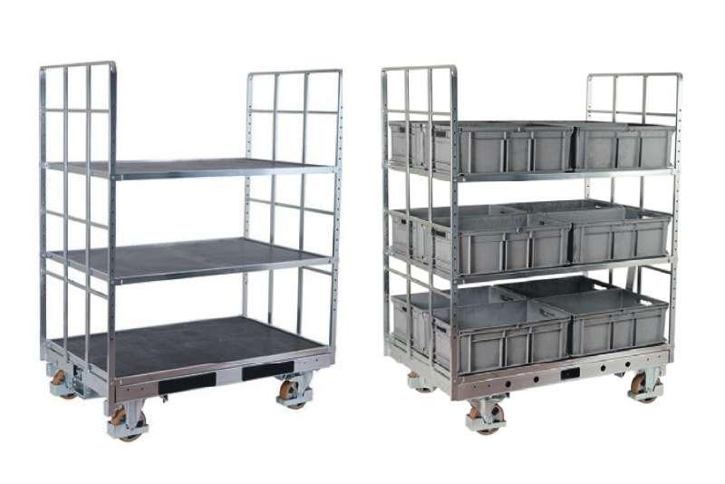 policové přepravní vozíky shelf wagon pro manipulaci klt boxů a přepravek