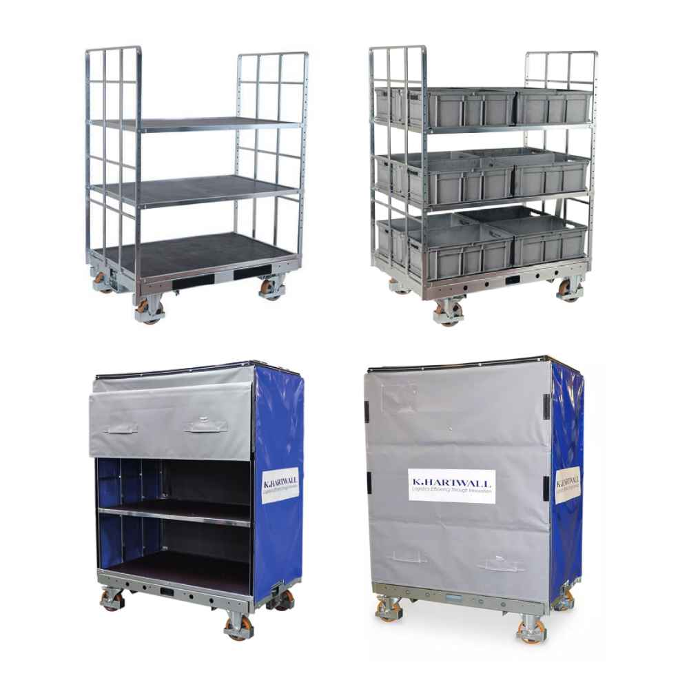 policové vozíky na klt boxy shelf wagon od k.hartwall