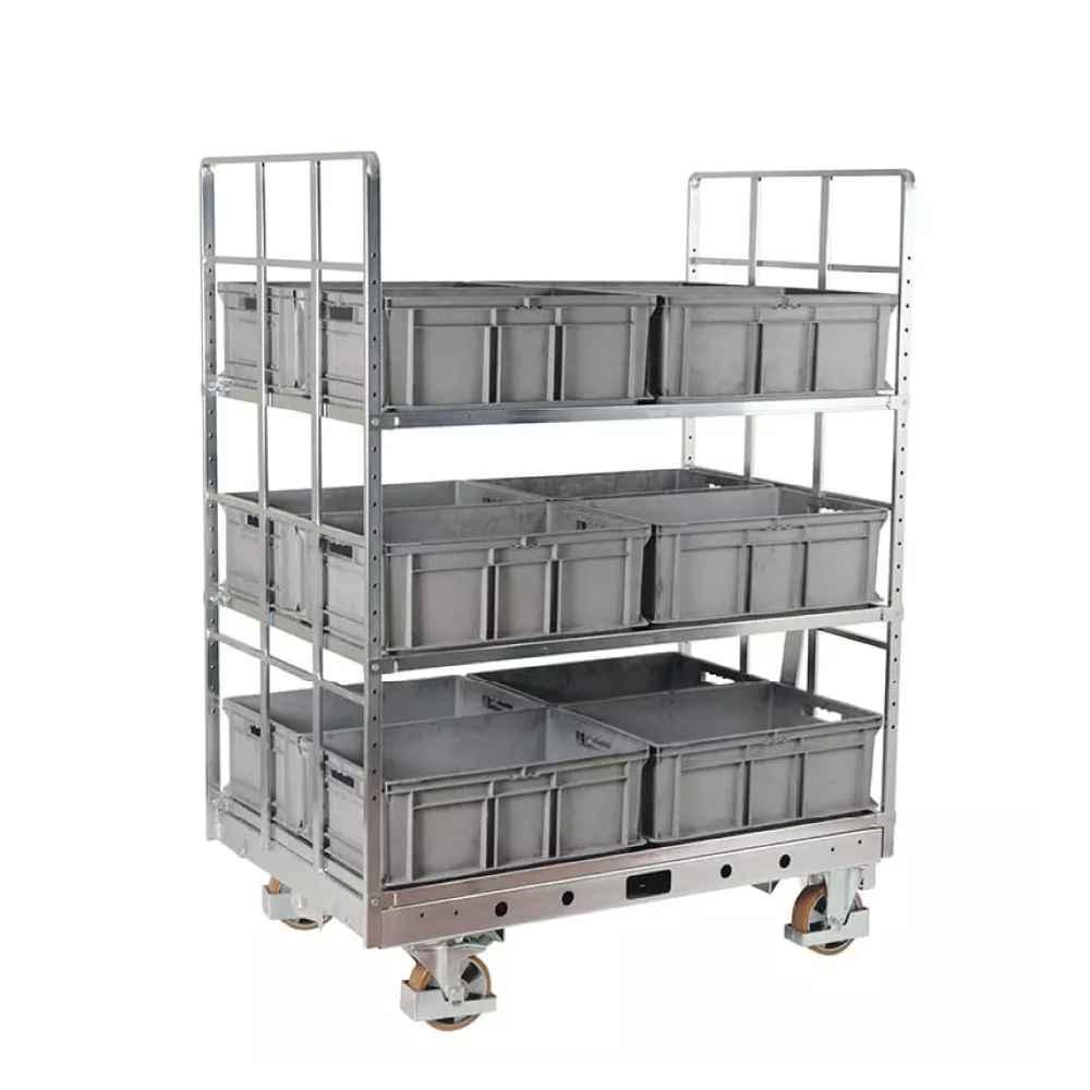 policový přepravní vozík na klt přepravky shelf wagon od k.hartwall