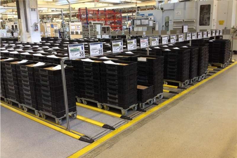 přepravní vozíky dolly s klt boxy, výdej materiálu ze skladu do výroby