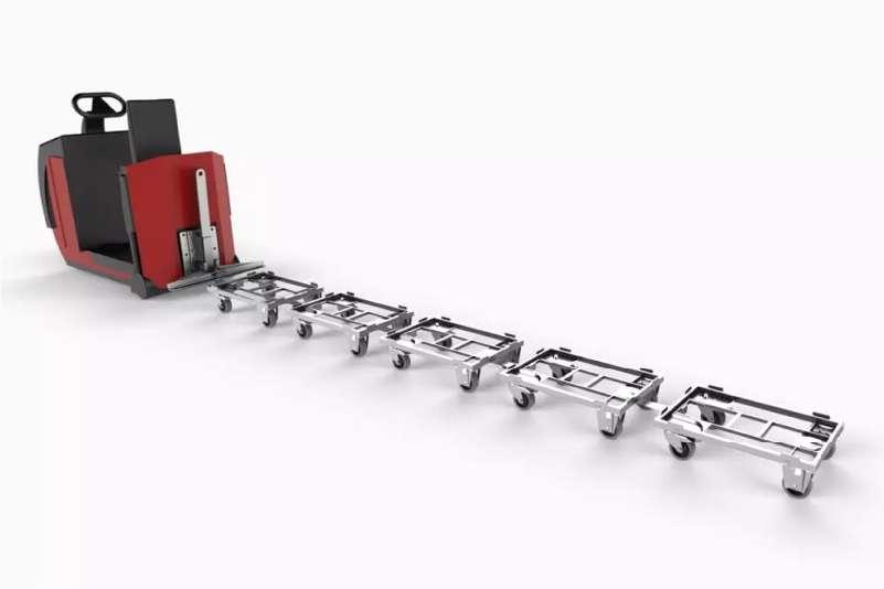 přepravní vozíky dolly od k.hartwall tvoří milkrun tažnou soupravu