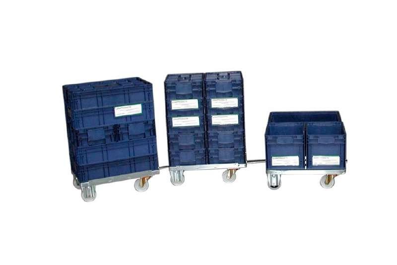 přepravní vozíky dolly s klt boxy spojené ojí
