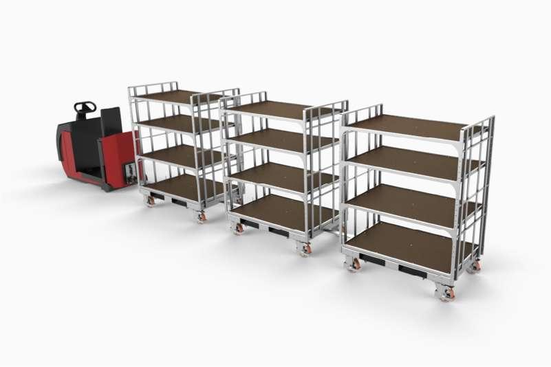 tažná souprava, k.hartwall policové vozíky shelf wagon spojené ojí