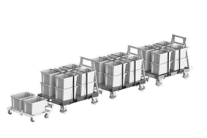 kombinovaná tažná souprava, přepravní vozík dolly typ VI a pallet size dolly tvoří milkrun vláček