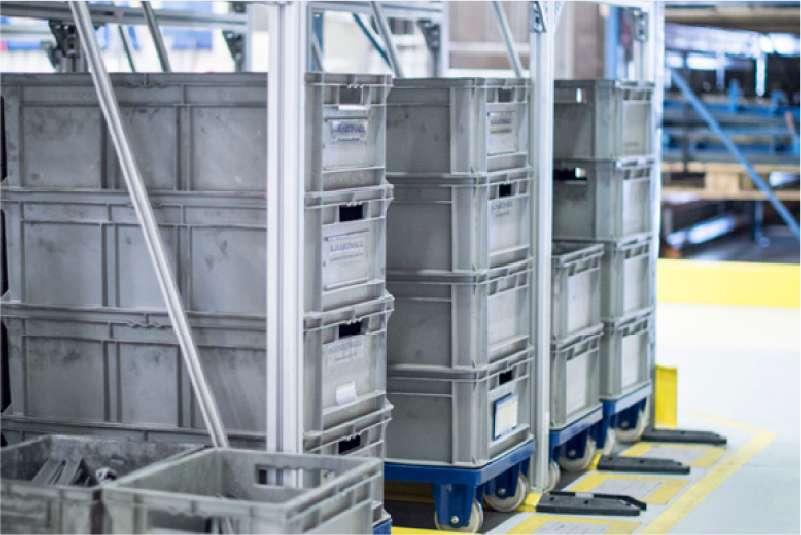 skladování přepravních vozíků dolly s klt boxy v regálech