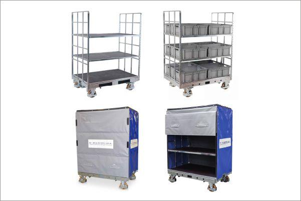 policový přepravní vozík shelf wagon od k.hartwall, pro klt boxy a přepravky