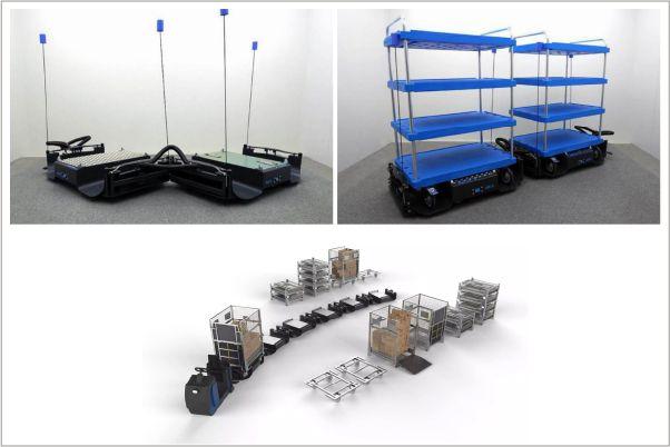 tažná souprava b-rámy liftliner od k.hartwall, pro zásobování montážních linek a výroby