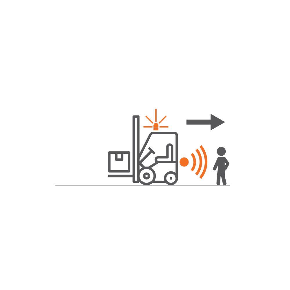bezpečnostní systém safe&alert značky sis je parkovací asistent s ultrazvukovým senzorem pro vzv, manipulační techniku a průmyslové stroje