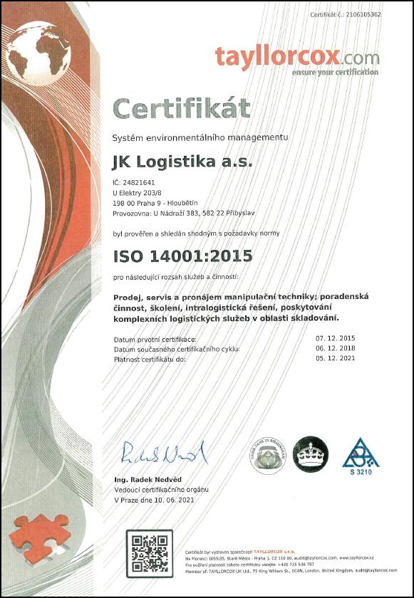 iso certifikat iso 14001 jk logistika as