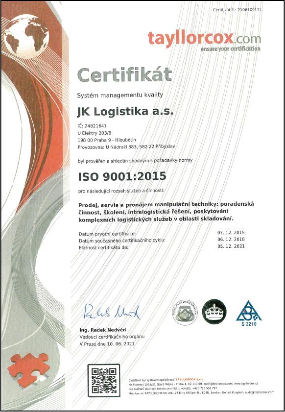 iso certifikat iso 9001 jk logistika as