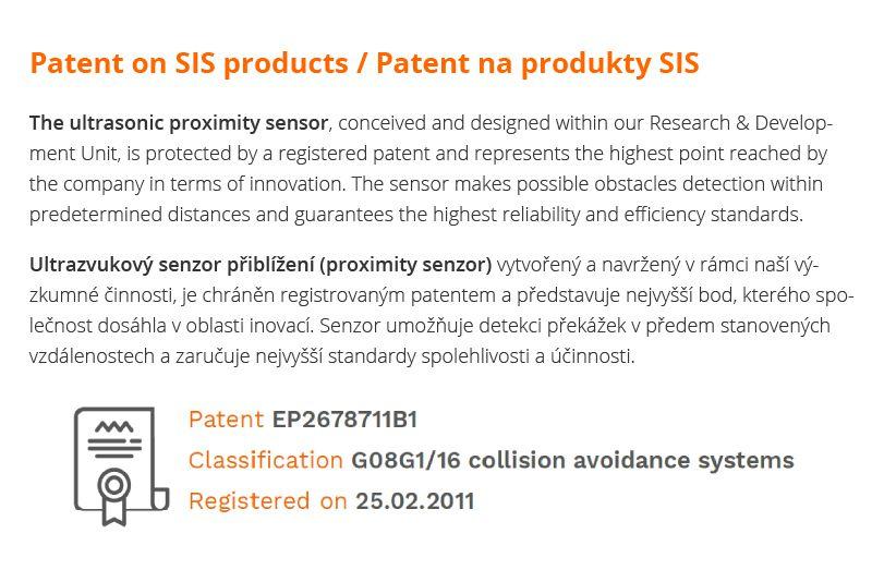 patent na ultrazvukový senzor přiblížení (proximity sensor) značky sis pro detekci objektů a překážek