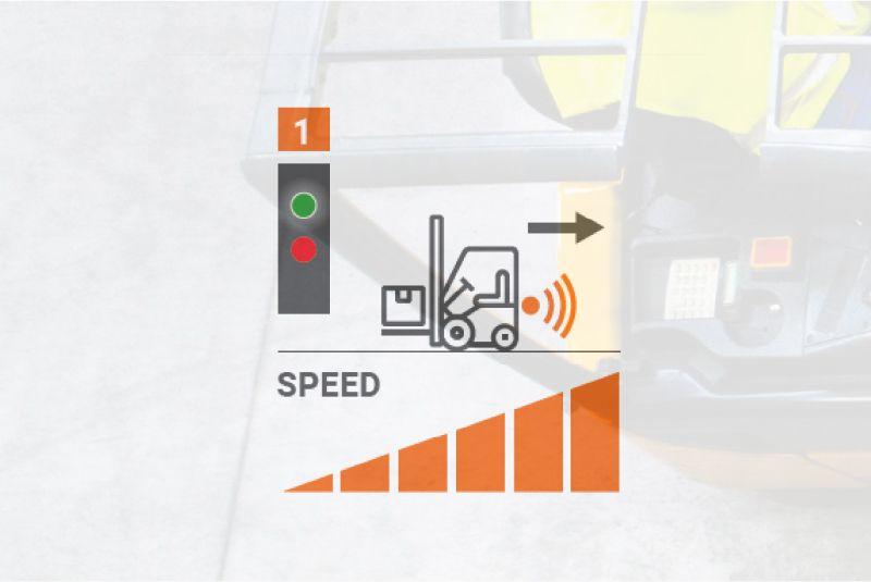 bezpečnostní systém safe&stop detekuje překážku za vozíkem a automaticky vozík zpomalí/zastaví